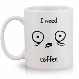"Caneca Personalizada de Procelana ""I Need Coffee"""