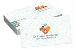 1000 Cartões de Visitas - 48x88mm - Couche Brilho 250g - 4x0 - Verniz Total Brilho Frente Refile