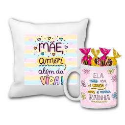 Kit Almofada Personalizada + Caneca Personalizada C/ Chocolate - Dia Das Mães