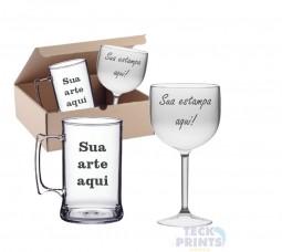 Kit festa - 30 Canecas de Chopp em Acrílico + 10 Taças de Gin em acrílico Personalizadas