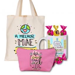 Kit Personalizado Dia Das Mães - Sacola Bag + Caneca + Necessaire