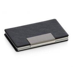 Porta Cartão Horizontal Inox Com Couro