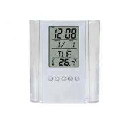Relógio Com Porta Caneta Transparente