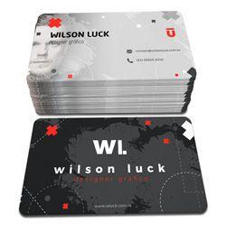 1.000 Cartões de Visita - 54x85mm - PVC 0,3mm - 4x0 - Sem Verniz - 4 Cantos Arredondados