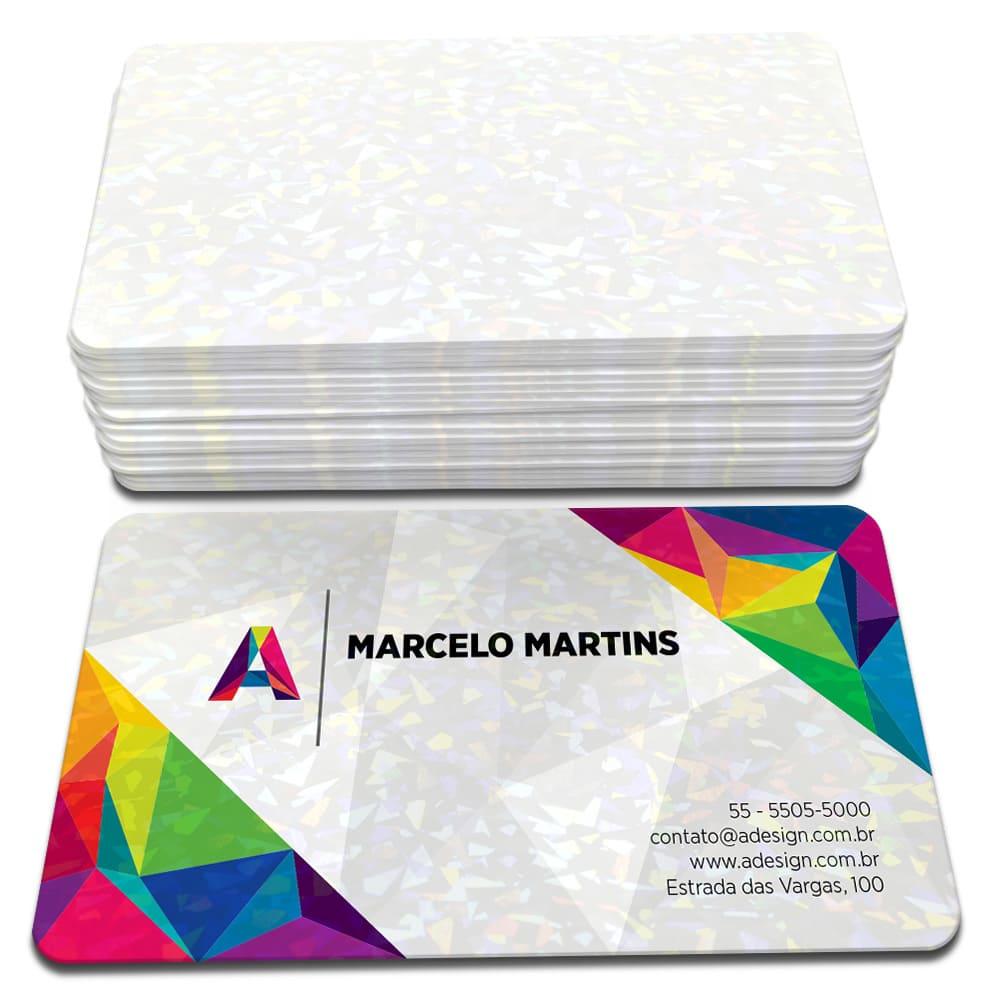 500 Cartões de Visita - 48x88mm - Couchê Fosco 300g - 4x0 - Laminação Holográfica - 4 Cantos Arredondados