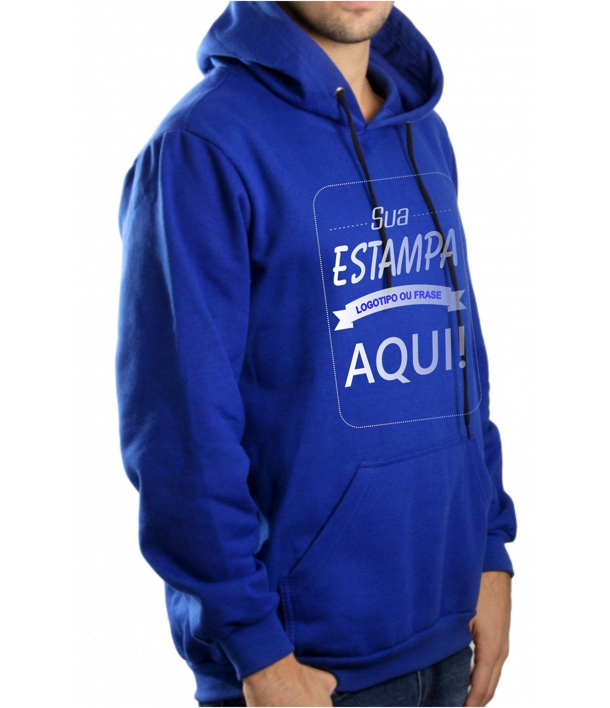 Blusa Moletom Masculina Canguru Personalizada Azul Royal Estampa frente media (A4)
