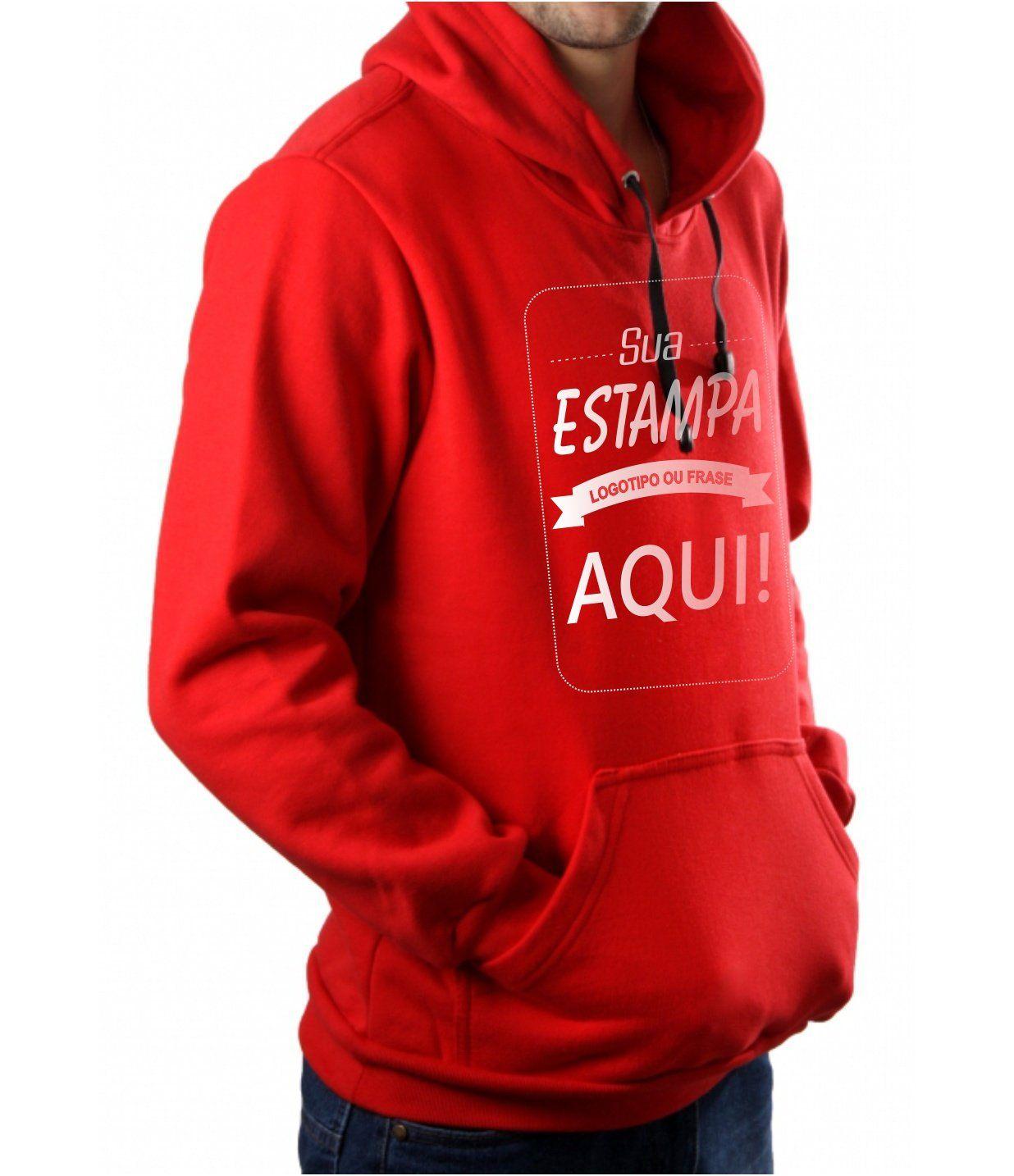 Blusa Moletom Masculina Canguru Personalizada Vermelho Estampa frente media (A4)