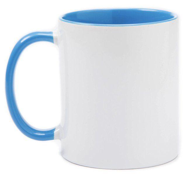 Caneca de Cerâmica Colorida Brilhante Azul  - 325 ml