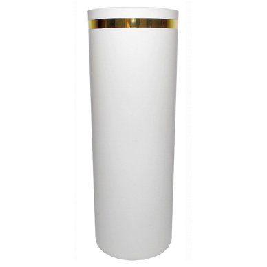 Copo Long Drink Branco, logo 1 cor frente Dourado com borda Dourada