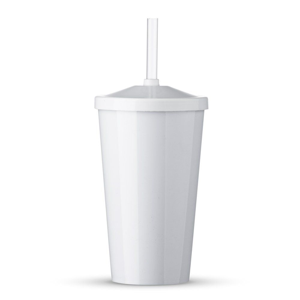 Copo Plastico 550 Ml Com Tampa E Canudo