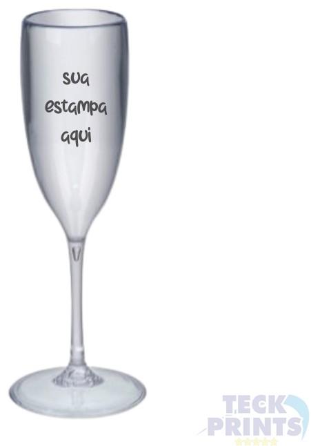 Kit Festa - 10 Taças de Champanhe em Acrílico + 10 Pares de Chinelos Brancos Personalizados