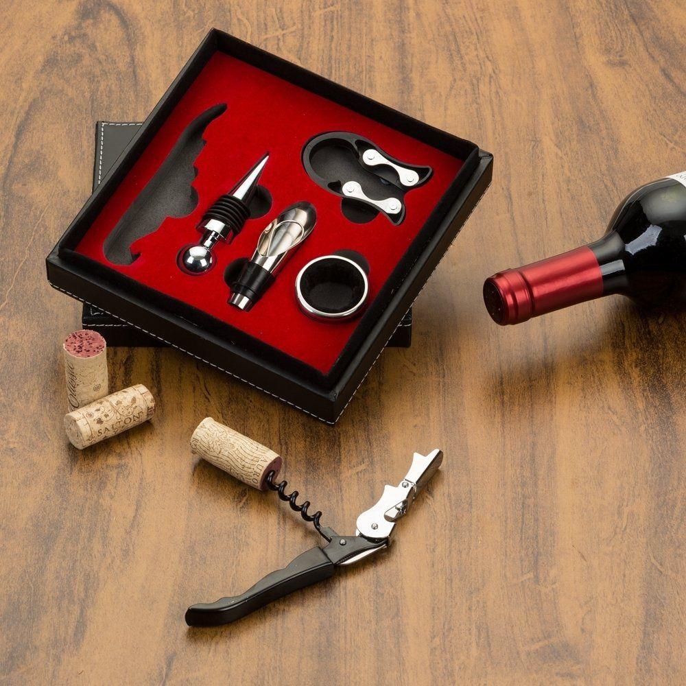 Kit Vinho  Estojo De Couro 5 Peças
