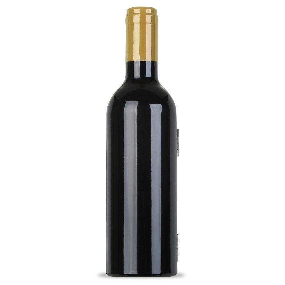 Kit Vinho Plástico Resistente 3 Peças Formato Garrafa