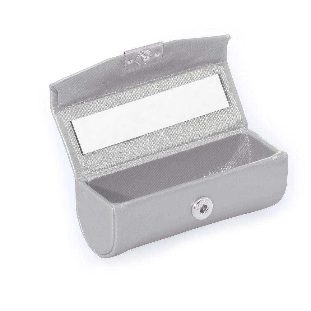 Porta Batom De Couro Sintetico Com Espelho