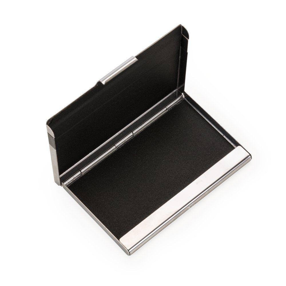 Porta Cartão Inox Com Detalhe Preto