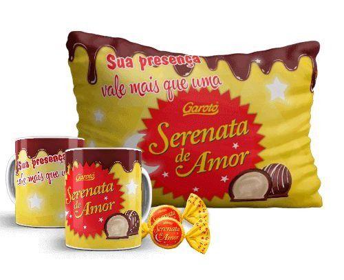 SERENATA - Kit pascoa - CANECA + ALMOFADA + CHOCOLATE