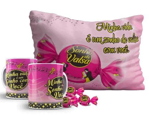 SONHO DE VALSA - Kit pascoa - CANECA + ALMOFADA + CHOCOLATE