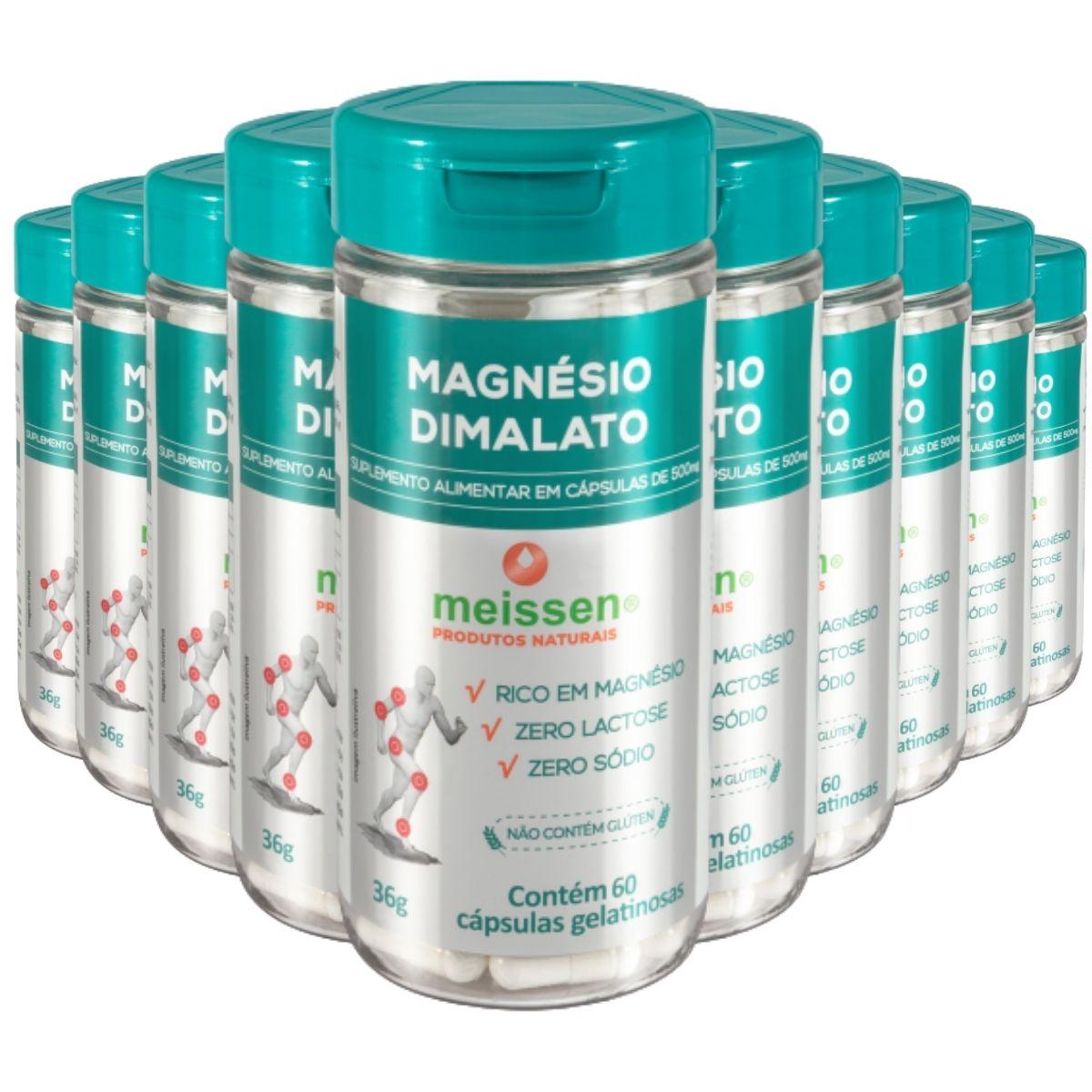 10x Magnesio Dimalato 600 Capsulas - 2 Cáps x Dia - Meissen