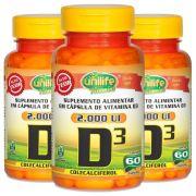 3x Vitamina D3 Colecalciferol 60 Cáps Unilife