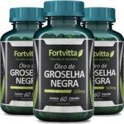 Kit 3x Óleo De Groselha Negra - 60 Cáps Cada - Fortvitta