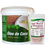 Kit Oleo De Coco Extra Virgem 3,0 L + Sal Rosa Do Himalaia 1 Kg Unilife