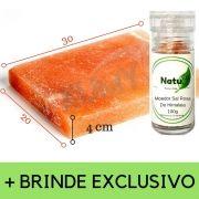 Pedra Sal Rosa 30x20x4 Cm + Brinde Moedor Sal Rosa 80g
