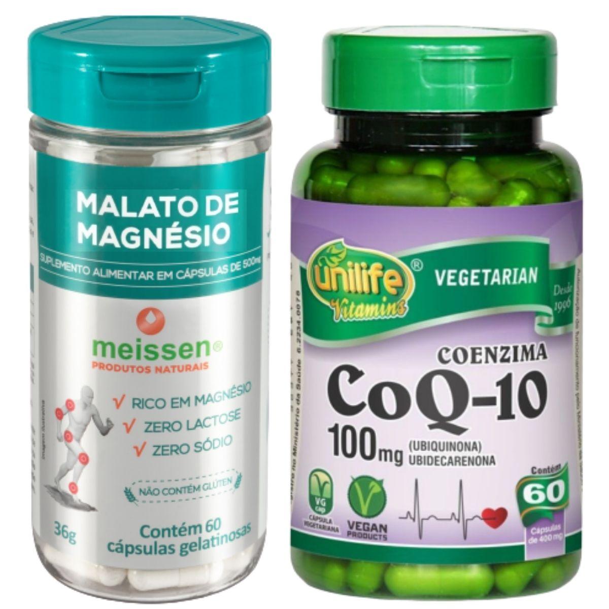 1 Coenzima Q10 100 Mg 60 Cápsulas Unilife + 1 Malato de Magnésio 60 Cápsulas- Meissen