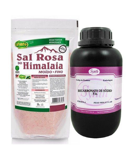 1 Kg Bicarbonato De Sódio Pa - Synth + 1 Kg Sal Rosa Himalaia