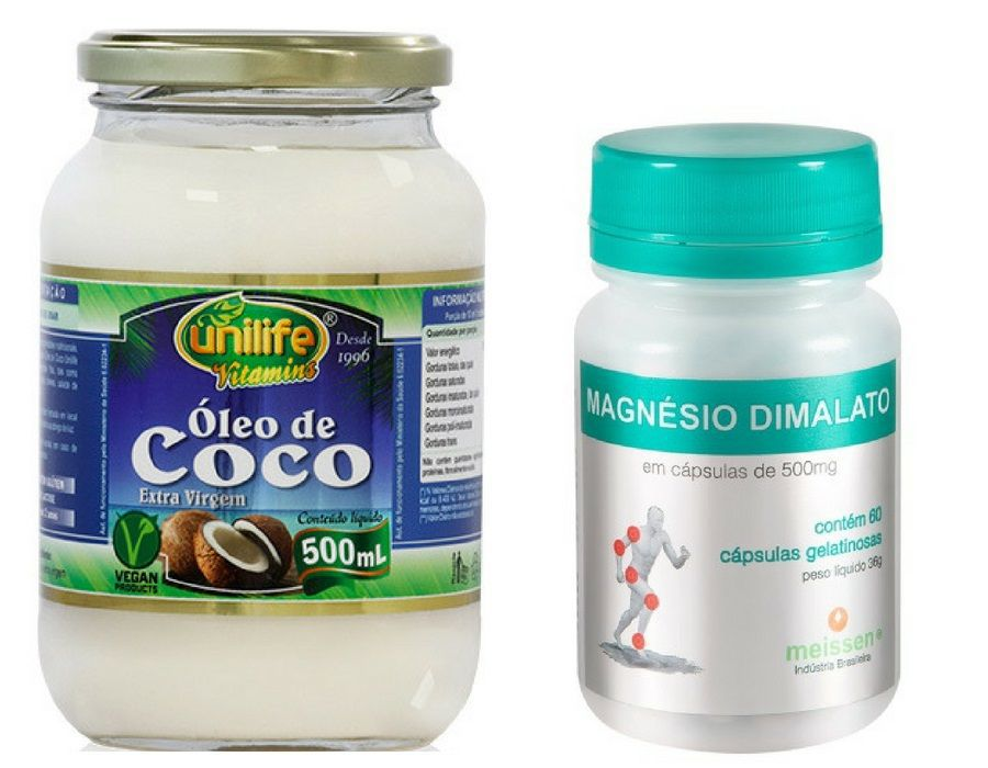1 Óleo de Coco 500ml Unilife + 1 Magnésio Dimalato 60 Cápsulas 550mg Meissen