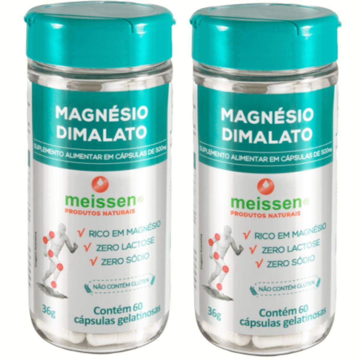 2 Magnesio Dimalato Puro - Total 120 Capsulas - 2 x Dia - Meissen
