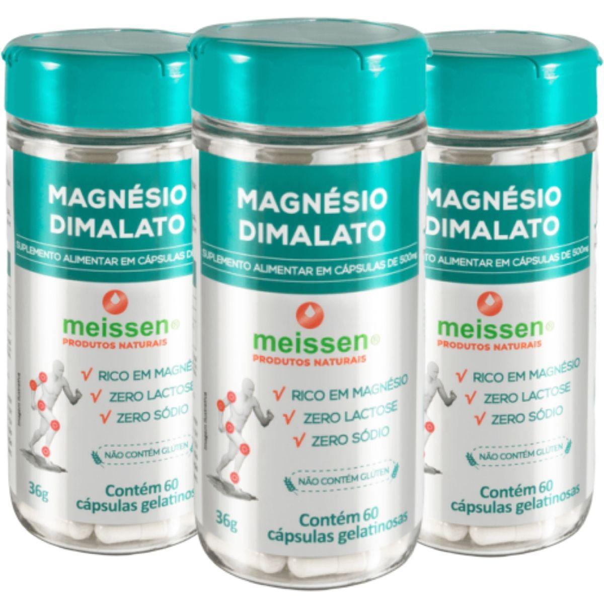 3 Magnesio Dimalato  Puro - 180 Capsulas - 2 x Dia - Meissen