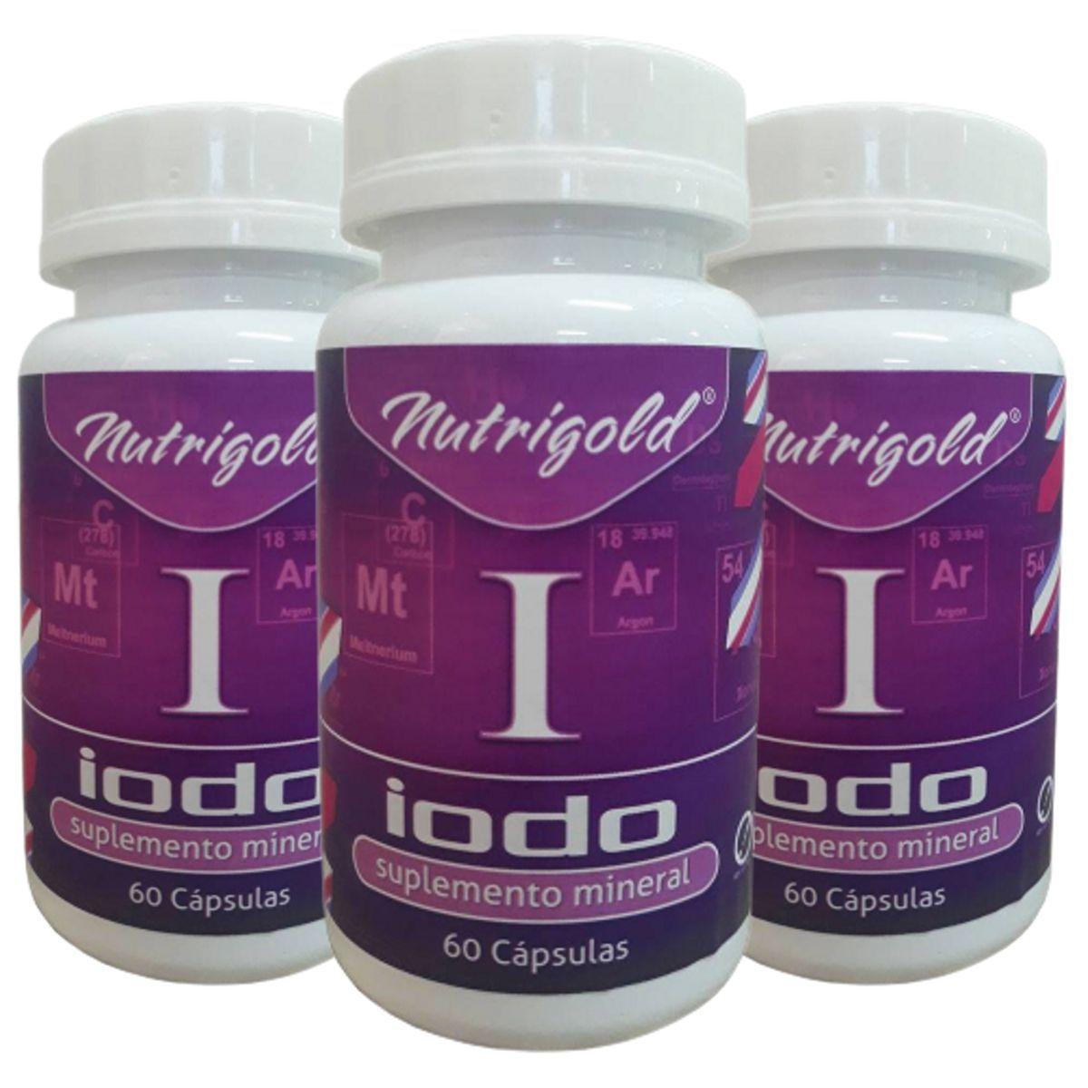 3 x Iodo inorgânico - Lugol em Cápsulas 60 Caps 650 mg