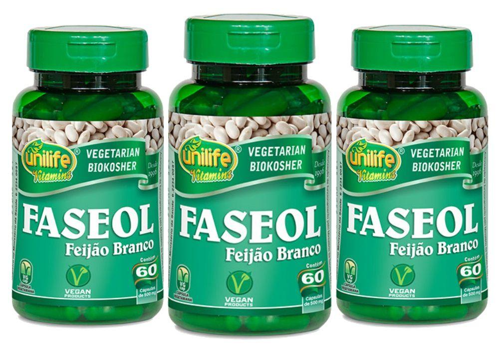 3x Faseol Feijão Branco Unilife - 60 Cápsulas 500mg