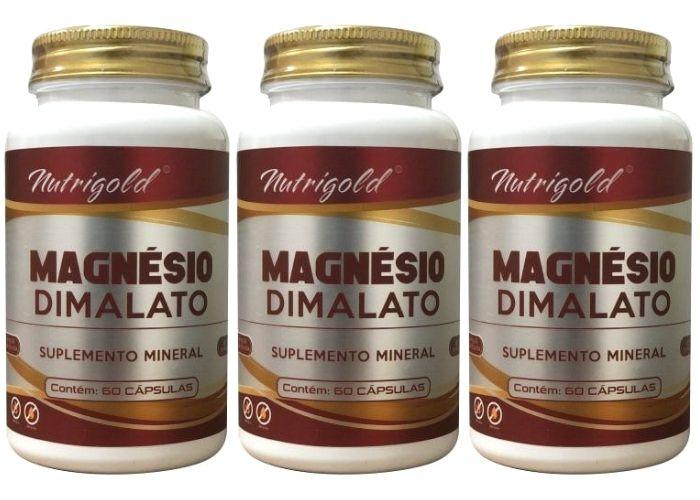 3x Magnésio Dimalato - 180 Cápsulas - 2x Dia