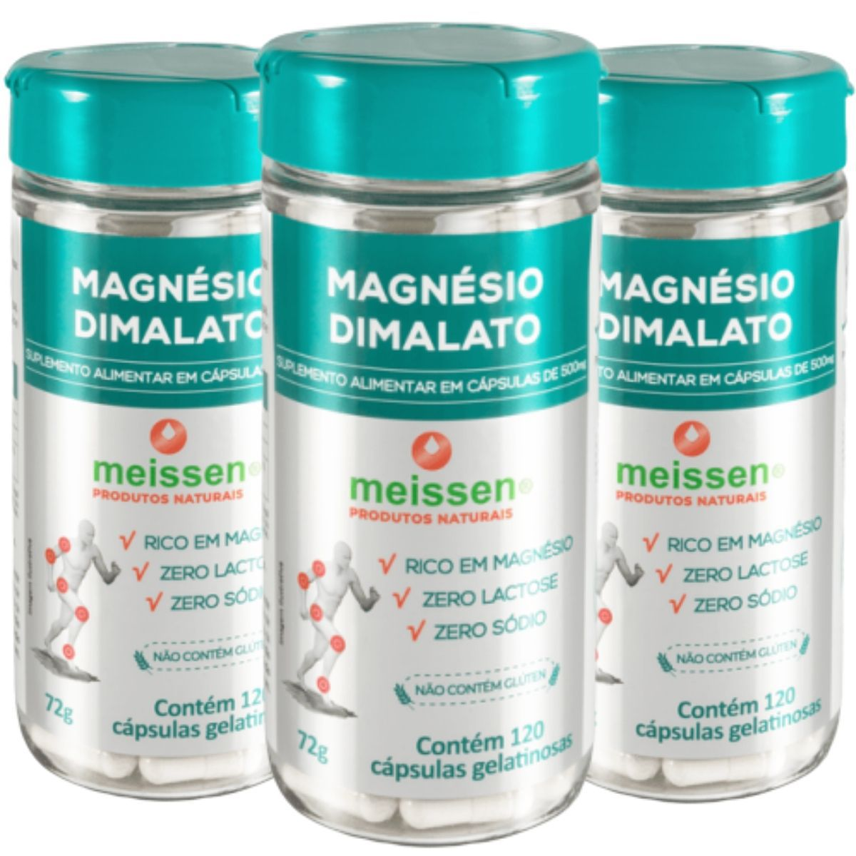 3x  Magnesio Dimalato - 360 Capsulas - 2 x Dia - Meissen