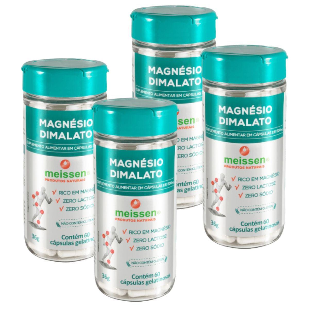 4 Magnesio Dimalato  Puro - 240 Capsulas - 2 x Dia - Meissen