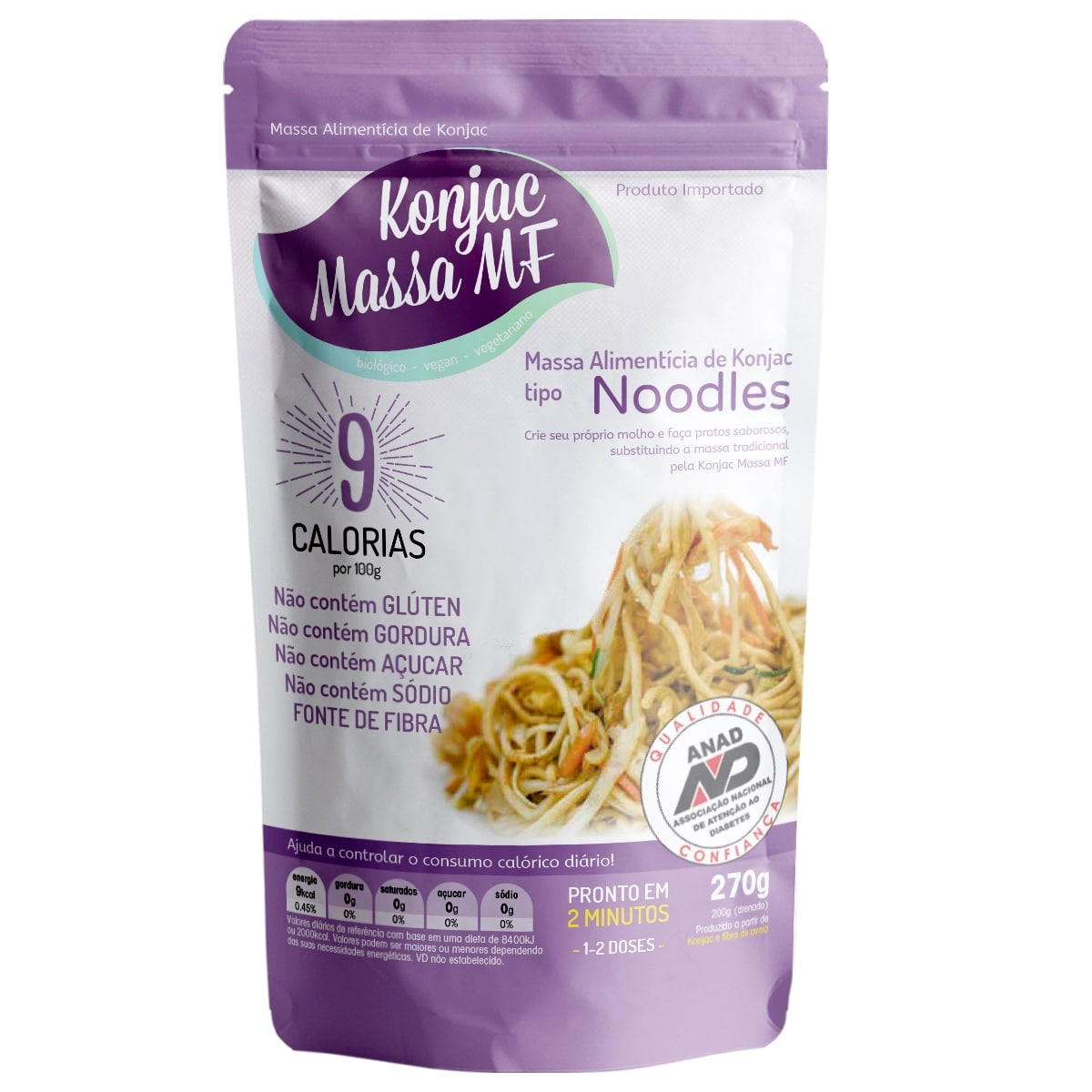 5 Noodles Milagroso Konjac  270g 9 Kcal Emagreça Comendo