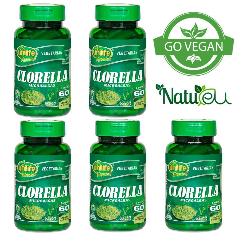 kit 5 Chlorella Unilife 60 Cápsulas 100% Pura