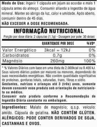 60 Magnésio Dimalato - 60 Cápsulas - 2x Dia