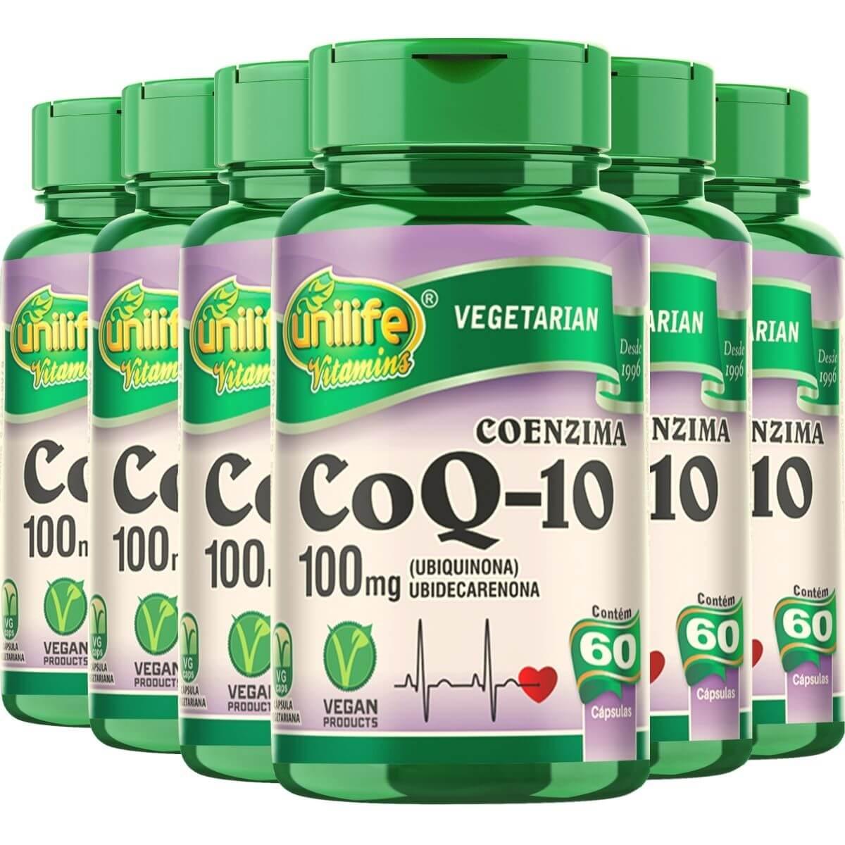 6 x Coenzima Q10 100 Mg 60 Cápsulas Unilife - 12 meses