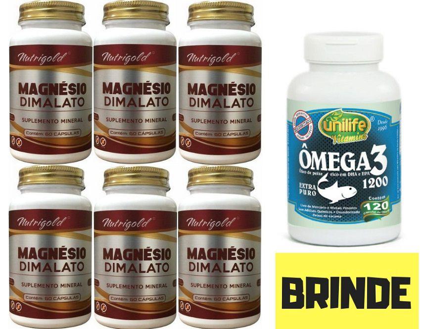 6x Magnésio Dimalato - 360 Cp + Brinde Ômega 3 - 120 Caps