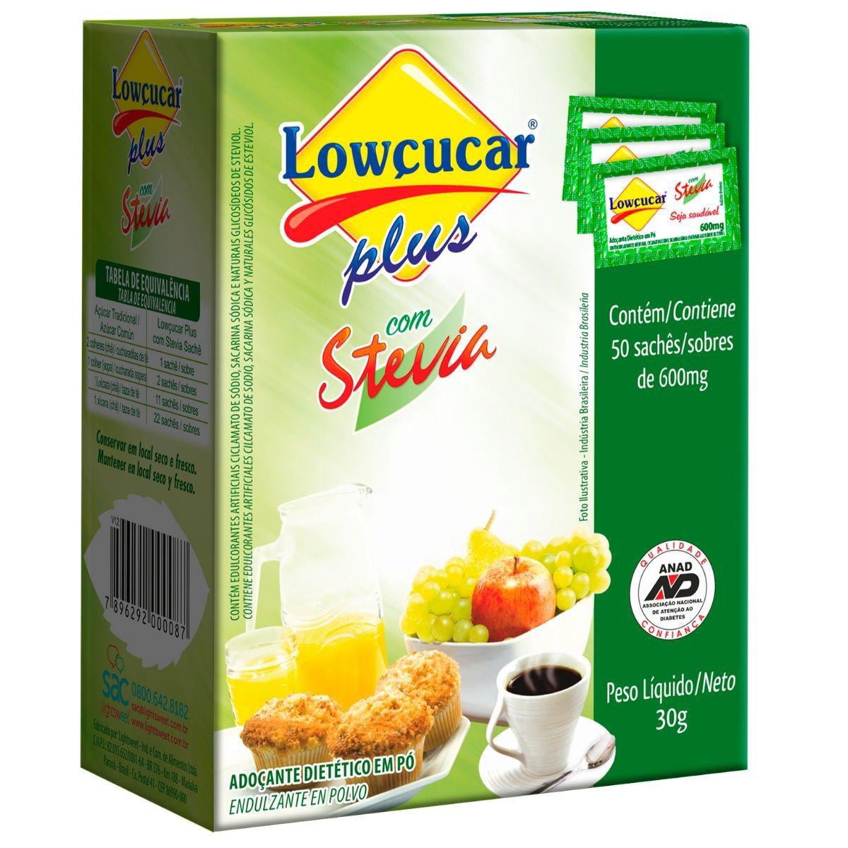 Adoçante Dietético C/ Stevia Em Pó 50 Sachês 600mg - Lowçucar Plus