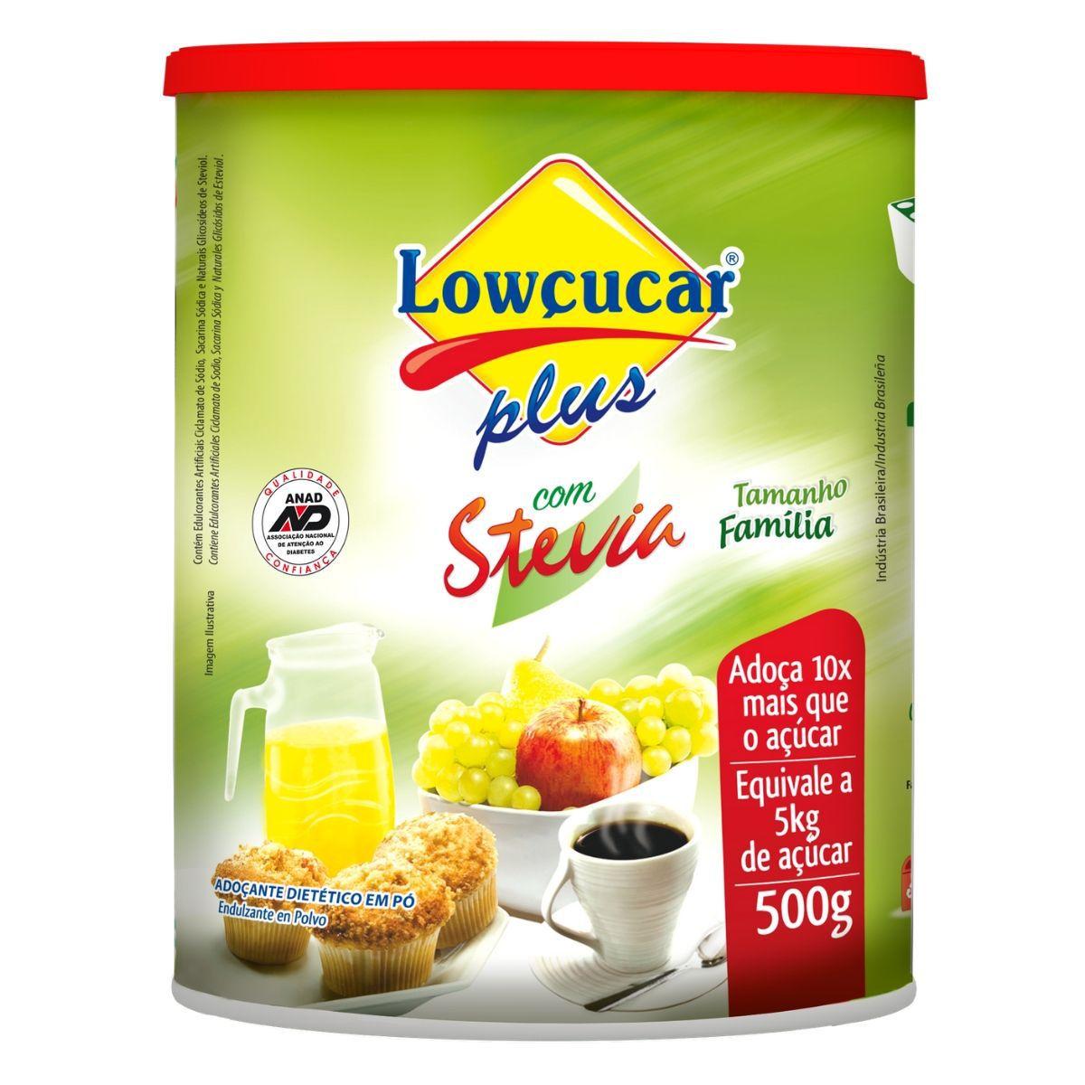 Adoçante Em Pó C/ Stevia 500g - Lowçucar Plus