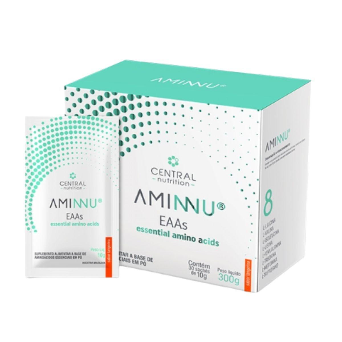 Aminnu Tangerina 30 Sachês EAAs 10g - Suplemento Alimentar A Base De Aminoácidos Essenciais - Central Nutrition