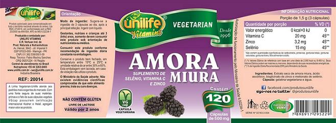 Amora Miura Com Vitaminas 120 Cápsulas 500mg - Unilife
