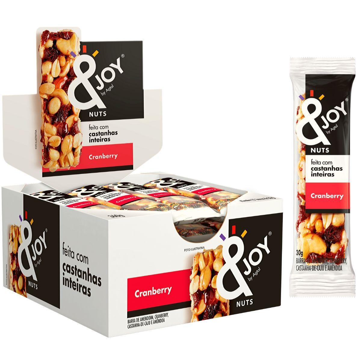 Barra de Castanhas 30g Mixed Nuts Cereais Cranberry 12 Und - Ejoy