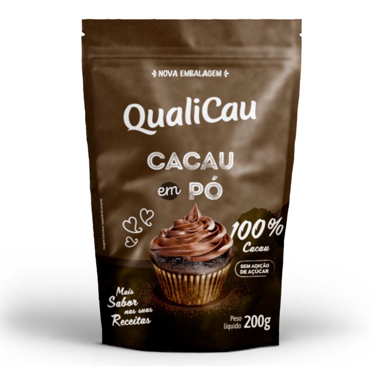 Cacau Em Pó 100% Cacau Zero Açúcar 200g - QualiCoco