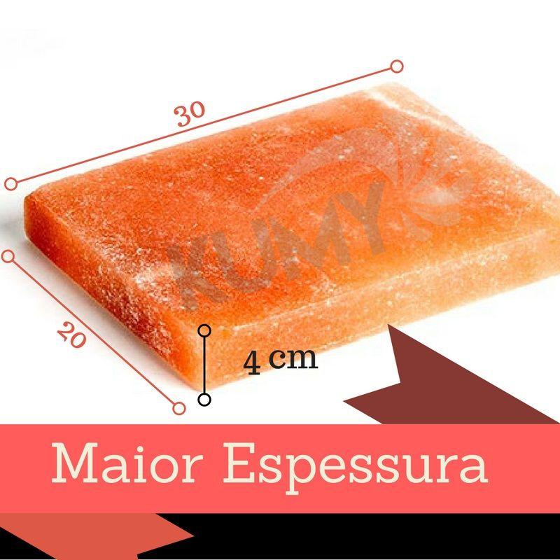 Chapa / Pedra De Sal Rosa Do Himalaia 30 x 20 x 4 Cm + 3 Kgs Sal Rosa Do Himalaia Fino/ Grosso