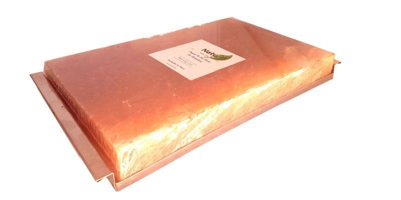 Chapa / Pedra De Sal Rosa Do Himalaia 30x20x4  + Bandeja Suporte Em Aço Inox