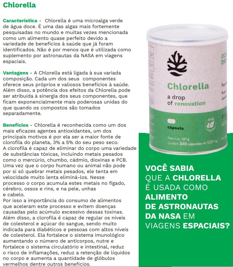 Chlorella 100% Vegetal 240 Cápsulas 530mg  Ocean Drop